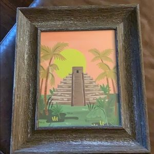 Mayan print with rustic wooden frame